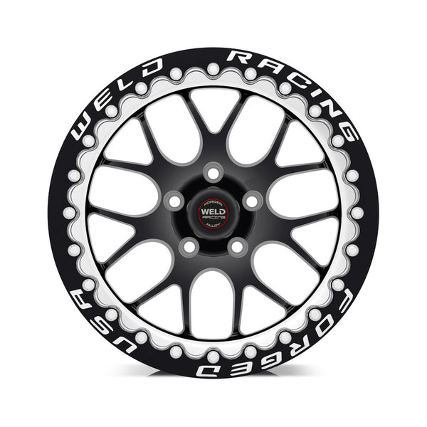 Widebody Challenger Weld Racing RT-S S77 17x10 / 5x115mm BP / 5.2in. BS Black Drag Wheel (High Pad) - Black Single Beadlock