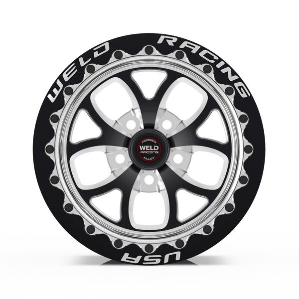 Trackhawk Weld Racing RT-S S76 17x10 / 5x5 BP / 7.2in. BS Black Drag Wheel (High Pad) - Black Single Beadlock