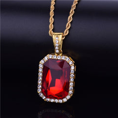 "Iced ""Ruby Medallion"" Pendant"
