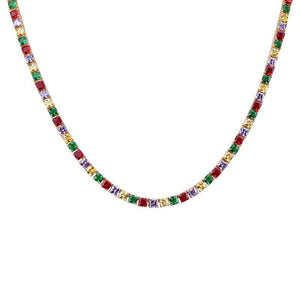 "Iced ""Rainbow Tennis"" Necklace"