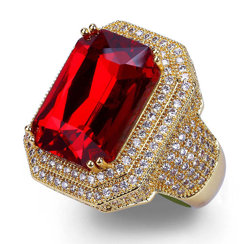 "Iced ""Ruby Medallion"" Ring"