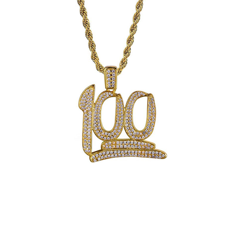 "Iced ""Keep It 100 Emoji"" Pendant"