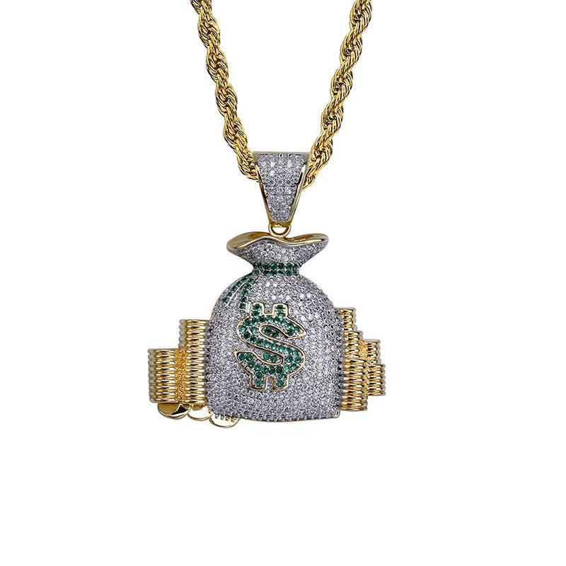 "Iced ""Money Bag"" Pendant"