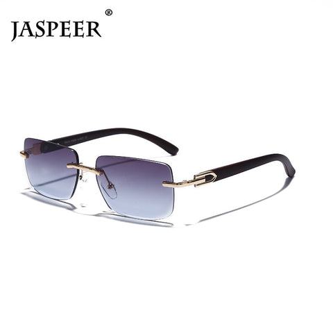 JASPEER Punk Rimless Rectangle Sunglasses Men Women Vintage Shades UV400 Driving Sun Glass Frameless Gradient Fashion Eyewear