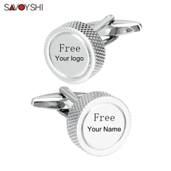 SAVOYSHI Round Simple Mens Cufflinks Studs Cuff buttons High quality Silver color Metal Cuff links Free Custom Name Logo