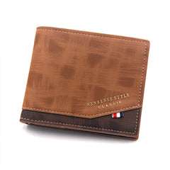 Men's Wallet Money Bag Solid Color Leather Business Short Wallet Famous Vintage Male Walltes Purse coin