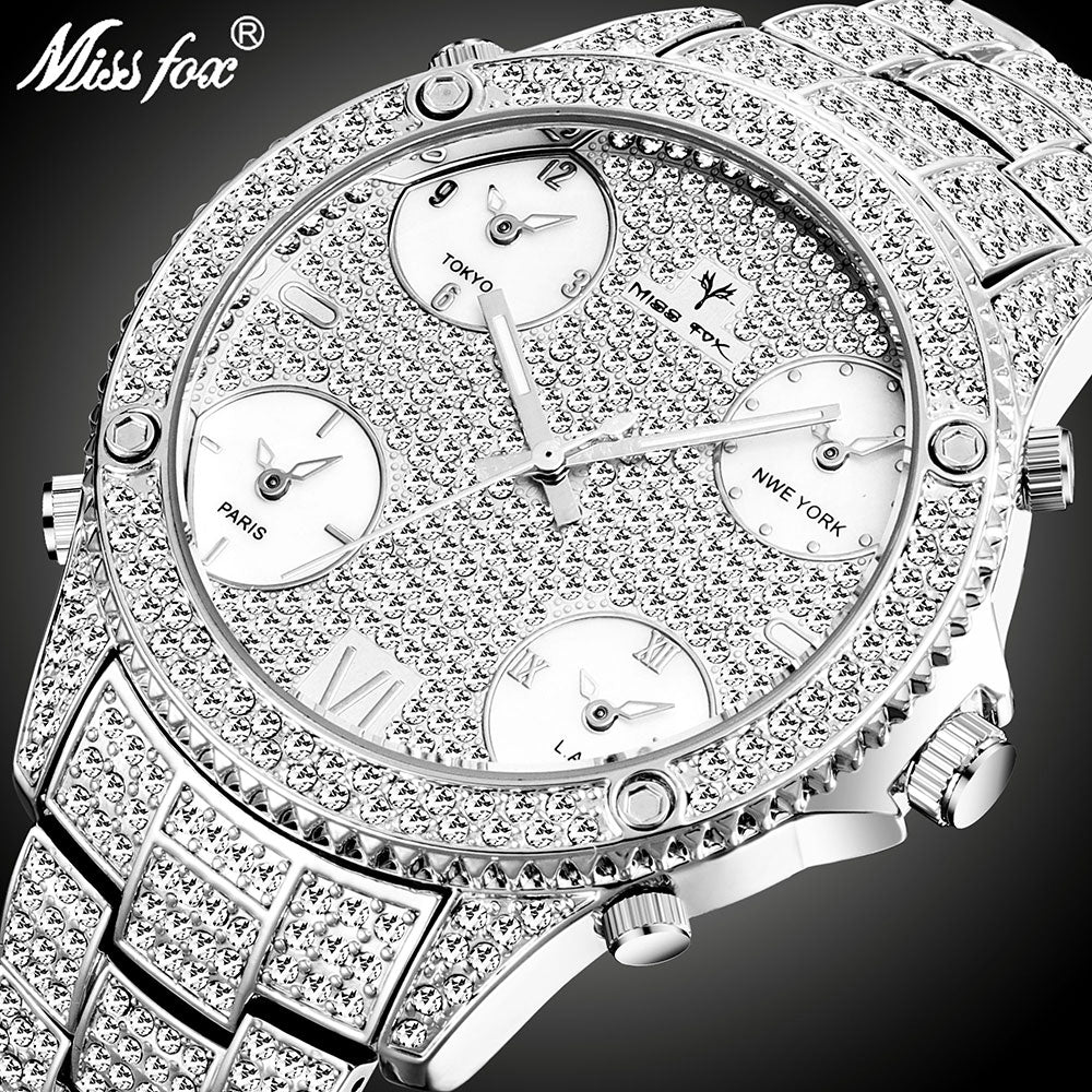 MISSFOX 51MM Huge Dial 5 Time Zone Mens Watches Top Luxury Brand Male Clock Quartz Watch Icd Large Men Business Iced Out Watch