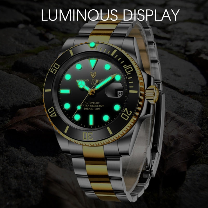 2020 LIGE Men Automatic Mechanical Clock Fashion Business Waterproof Sapphire Glass Watches For Mens 316L Steel NH35 Movement