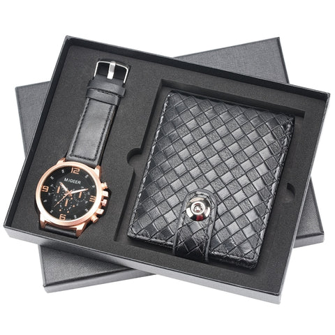 Men's Watches Gifts Set Leather Short Woven Pattern Wallets Money Bag Fashion Quartz Wristwatch Top Luxury Business Reloj Hombre
