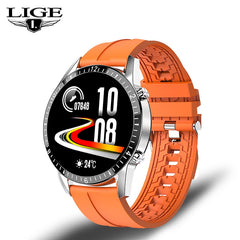 LIGE New Full circle touch screen Mens Smart Watches IP67 Waterproof Sports Fitness Watch Luxury Smart Watch Phone for men +Box