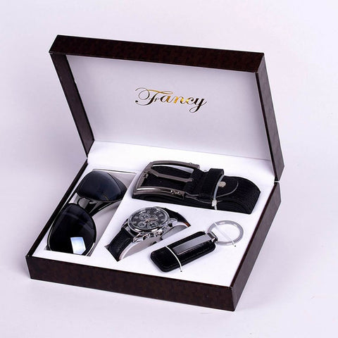 Fashion Watch Men Luxury Gift Set Sunglasses Keychain Top Quality Belt Multiple Time Zone Wrist Watch For Father Men Gift
