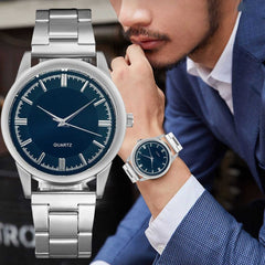 Men's Quartz Watch Wristwatches Business Casual Stainless Steel Mesh Belt Simple Dial Watches Hombres Hour Reloj Clock