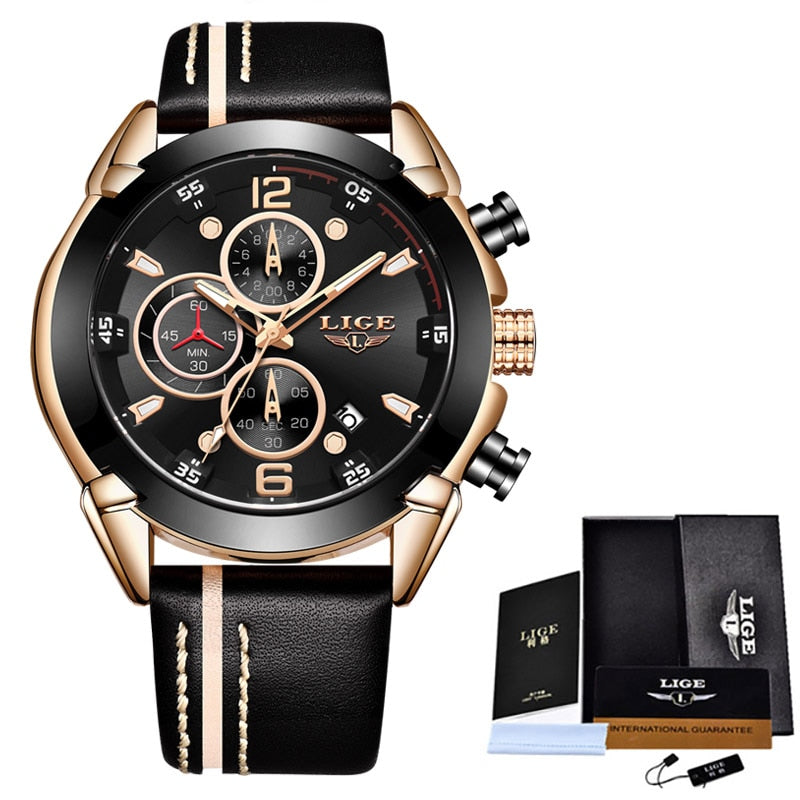 Clearance Sale LIGE Fashion Watch For Man Top Brand Quartz Mens Watches Militray Waterproof Date Clock Sport Chronograph+Box