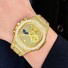 MISSFOX Luxury Men Watch Gold 18K Nautilus Model Fully Paved Baguette Diamond Mens Watches Waterproof Calendar Male Clock Hours