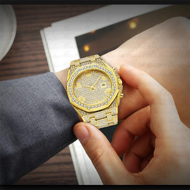 MISSFOX Big Silver Watch Women Quartz Watch Diamond Ladies Bling Arabic Numbers Woman Watches Top Brand Luxury Gifts For Women