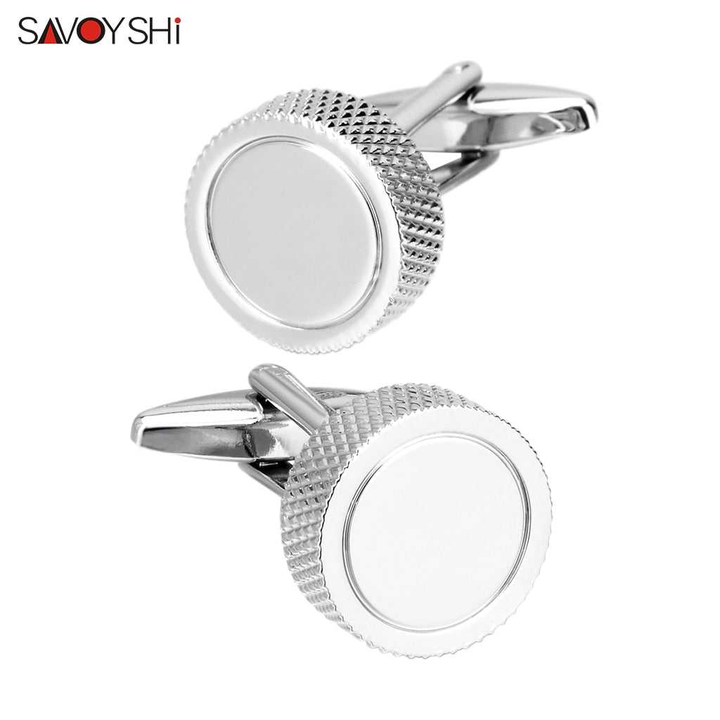 SAVOYSHI Round Simple Mens Cufflinks Studs Cuff buttons High quality Silver color Metal Cuff links Free Custom Name Logo (Silver Plated)
