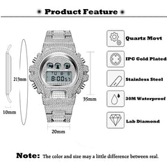 New MISSFOX G Style Shock Mens Watches Top Brand Luxury Digital Watch Men Diamond Male Clock Xfcs Classic Hip Hop Iced Out Watch