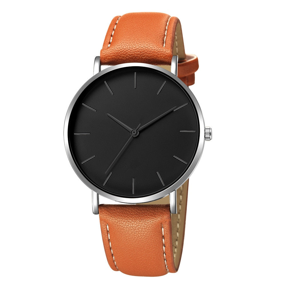 Watch Men Three Eye Watches Horloge Man Quartz Case Synthetic Leather Business Wristwatch Man Montre Pour часы мужские