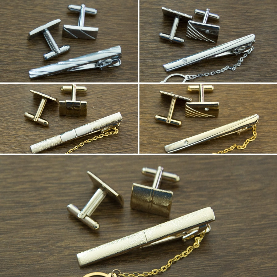 Mens Shirts Cuff Tie Clips Set Links Collection Luxury Tie Accessories Classic Man Fashion Design Carving Cufflink for Men Gifts