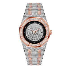 MISSFOX Luxury Watch Men Unique Classic Ice Out Diamond Real Chronograph Designer Wrist Watch Stainless Steel Strap Dropshipping