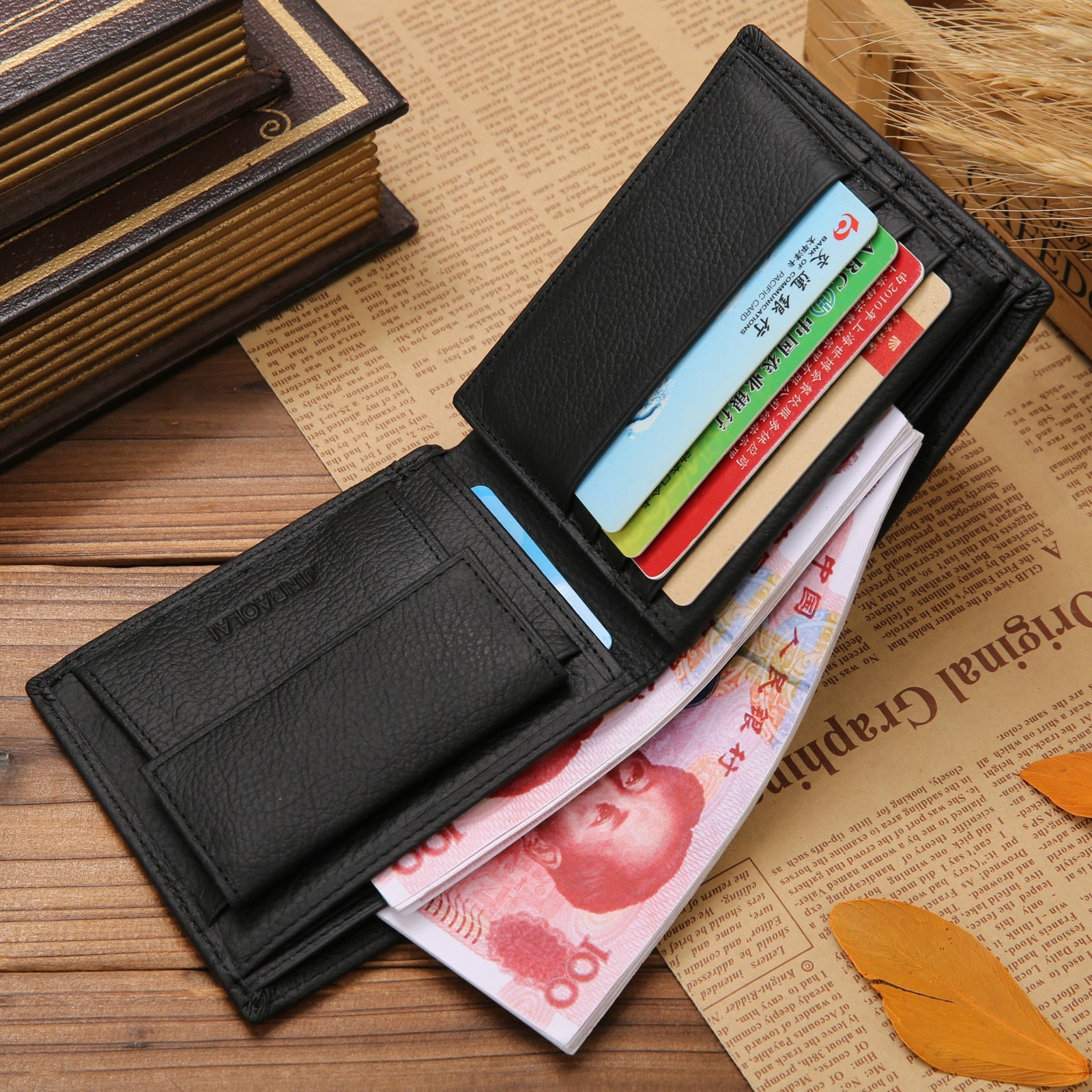 100% Genuine Leather Mens Wallet Premium Product Real Cowhide Wallets for Man Short Black Walet Portefeuille Homme Short Purses