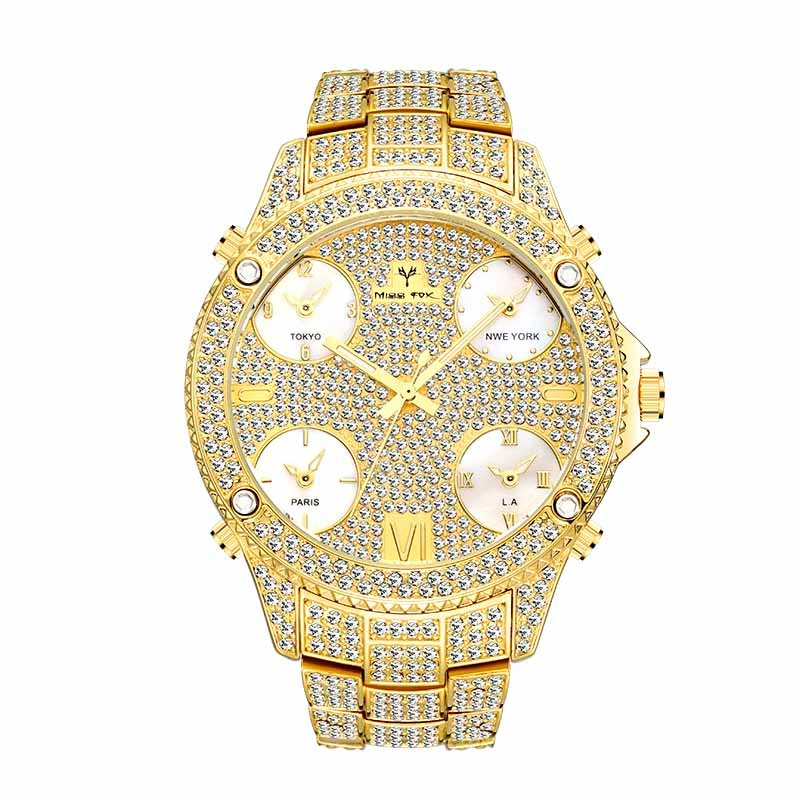 MISSFOX 51MM Oversized Big Dial Luxury Watch Men Diamond Accented Case With 5 Quartz Movt Analog Male Gold Business Wrist Watch
