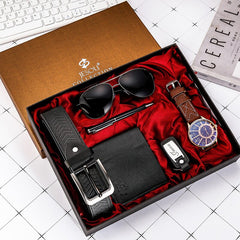 6pcs Men's Gift Set Fashion Brown Large Dial Quartz Watch Glasses Leather Belt Wallet Keychain Pen Gifts for Men Drop Shipping