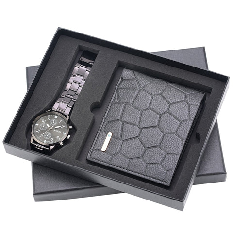 Watch Wallet Gifts for Men Clock Male Fashion Irregular Grain Men's Wallet Money Bag Credit Card Holder Dollar Bill Wallet Watch