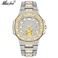 Hot MISSFOX Watches Men Wrist Luxury Brand Analog Chronograph Two Tone Gold Diamond Male Wrist Watch Auto Date Quartz Wristwatch