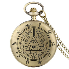 Eye of Providence Weird Town Triangle Devil Quartz Pocket Watch Gravity Bill Cipher Fall Time Gem Necklace Pendant Clock Gifts