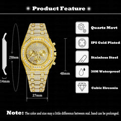 Dropshipping Big Men Watches 2020 Luxury Design Classic Waterproof Silver Bling Watch Stainless Steel Bracelet Wristwatch Clock