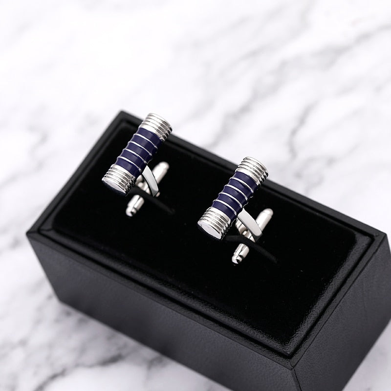 business simple style male cufflinks suit jewelry cufflinks black/blue Round stick men accessories fashion trendy