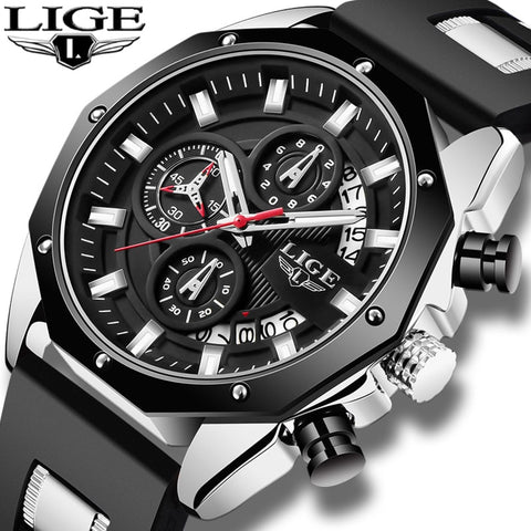 2020 LIGE Sport Chronograph Men's Watch Leather Band Wristwatch Big Dial Quartz Watches with Luminous Pointers Relogio Masculino