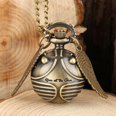 Exquisite Snitch Ball Pocket Watch for Kids Quartz Pendant with Wings Tiny Children Necklace Clock 80 cm Chain Dropshipping