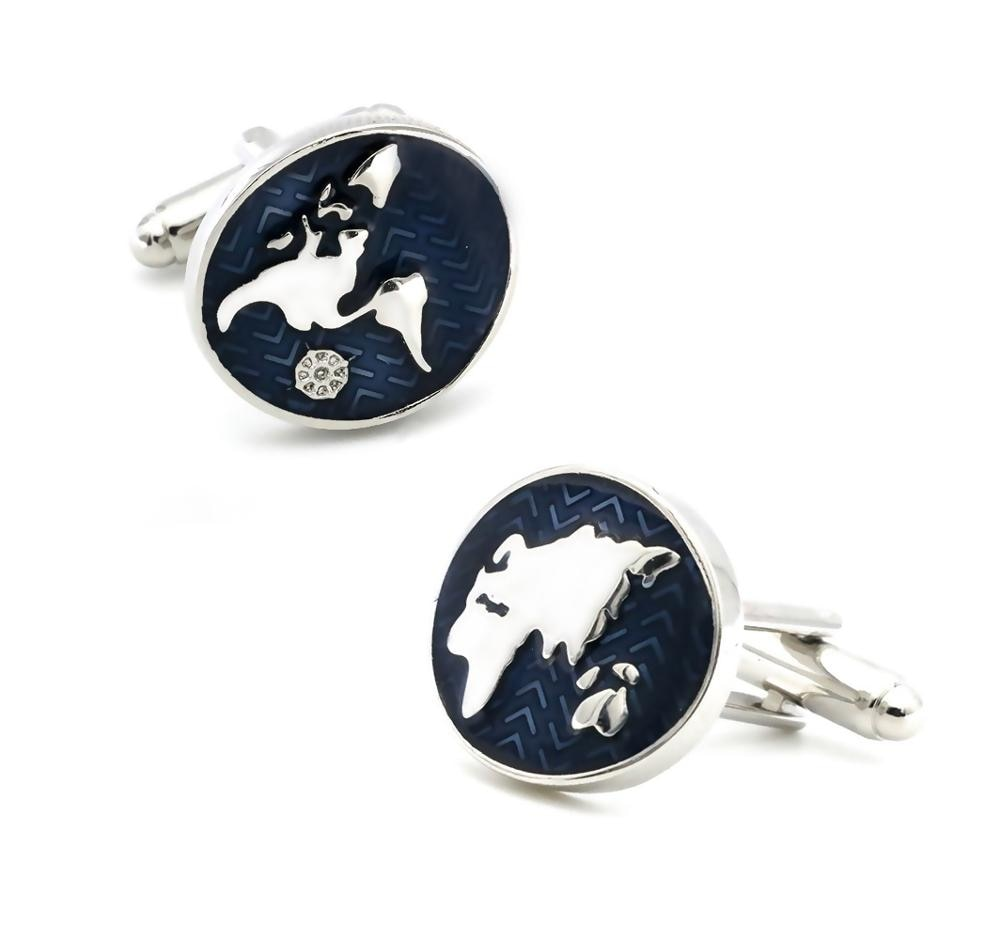 Free Shipping Cufflinks Retail Novelty Sail Design Blue White Color Sport Series Cufflinks For Men Cuff Links Wholesale&retail