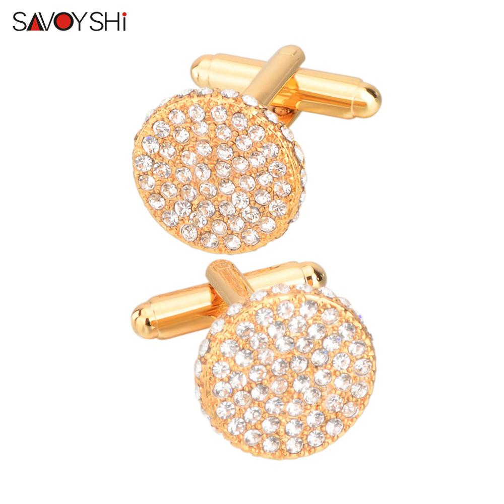 SAVOYSHI Brand Shirt Cufflinks for Mens Cuffs High Quality Round Crystals Cuff links Twins Gift Male Jewelry Free Engraving Name (18K Gold)