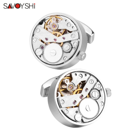 SAVOYSHI Mechanical Watch Movement Cufflinks for Mens Shirt Cuff Functional Watch Mechanism Cuff Links Designer Brand Jewelry