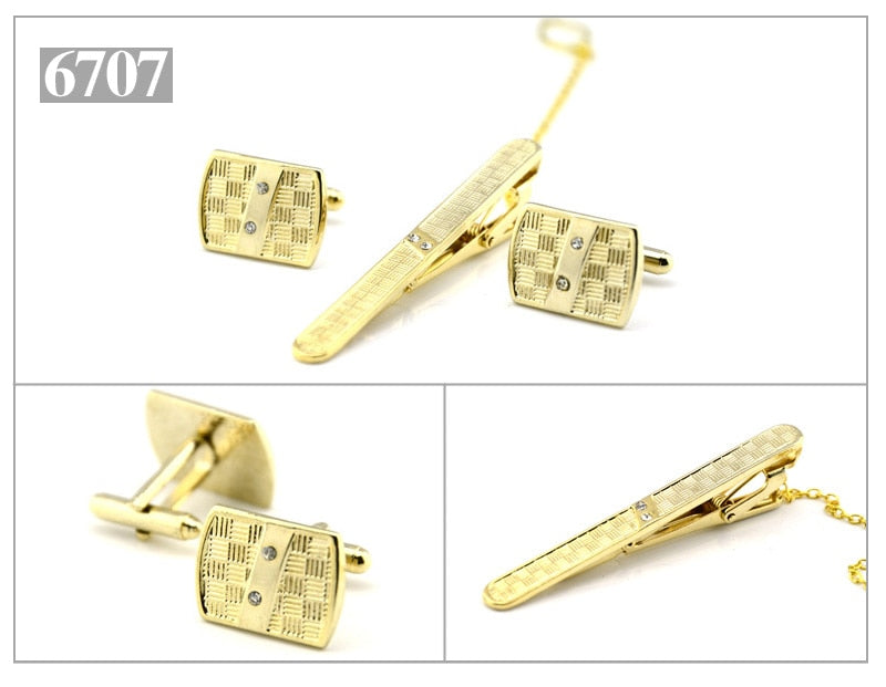Gold Tie Clip and Cufflink Set For Men Classic Meter Tie Clips Cufflinks Sets Copper Tie Bar Golden Tie Collar Pin Jewelry