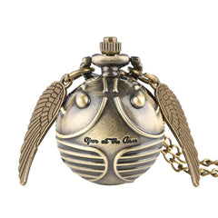 Retro Snitch Ball Shaped Potter Quartz Pocket Watch Fashion Sweater Angel Wings Necklace Chain Gifts for Men Women kids