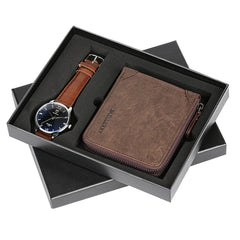 Top Luxury Mens Watch with Vintage Wallet Zipper Pouch Coin Pocket Purse Cowhide Leather Wallets Gifts Set for Men Dad Boyfriend