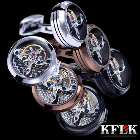 KFLK jewelry shirt cufflink for mens Brand cuff button watch Mechanical movement cuff link high quality Tourbillon guests