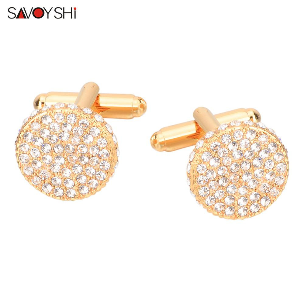 SAVOYSHI Brand Shirt Cufflinks for Mens Cuffs High Quality Round Crystals Cuff links Twins Gift Male Jewelry Free Engraving Name