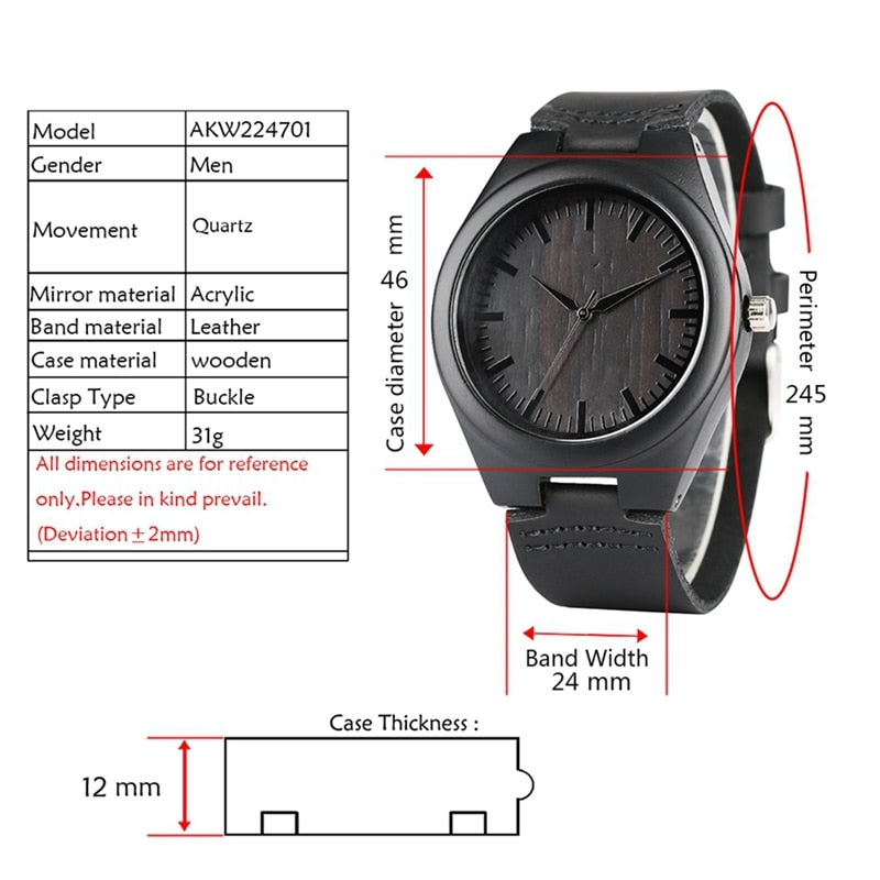 """MY MAN"" Engraved Word Full Black Men's Ebony Wood Watch Clock Male Unique Quartz Leather Valentines Gifts for Husband Boyfriend"