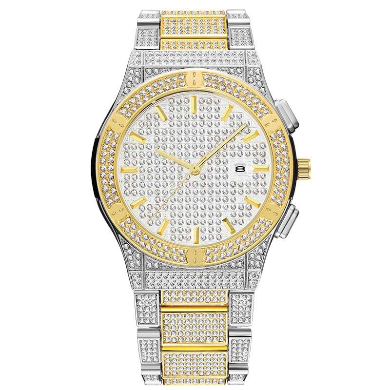 MISSFOX Silver And Gold Watch Mens Calendar With Full Diamond Watches Top Brand Luxury Analog Water Resistant Man Watch Gift Box