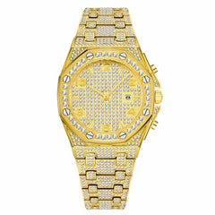 Mens Watches Top Brand Luxury Watch Men Trending Unique FF Arabic Diamond Watch 18k Gold Quartz Iced Out Mens Chronograph Watch