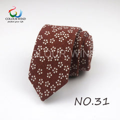 New Fashion Linen Ties For Men Skinny 6cm Necktie Qstrich Flower Stars Leaves Prints Wedding Party Casual Corbatas Gravata Gift