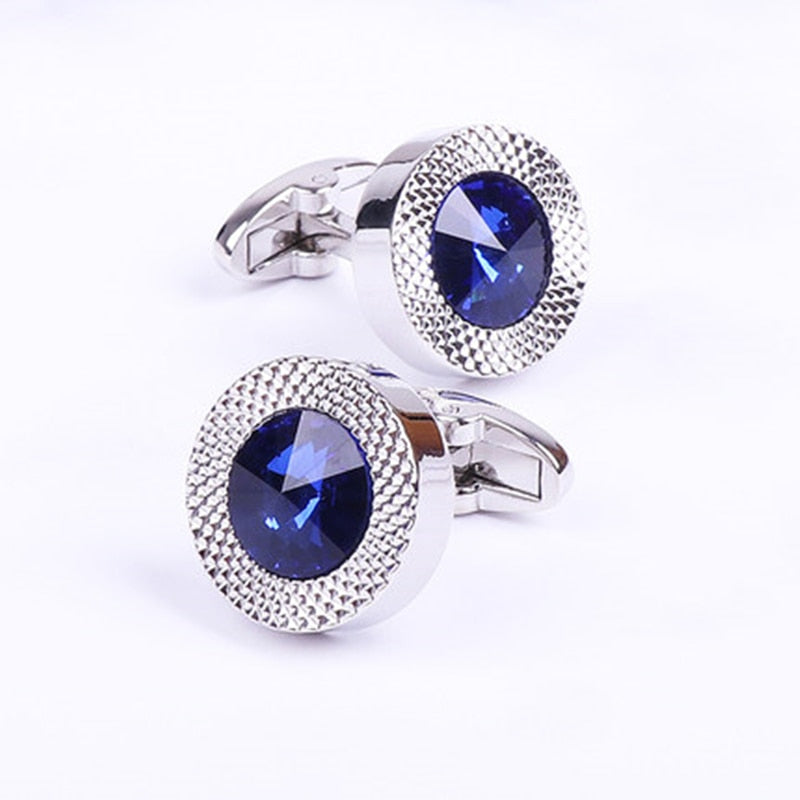 FLEXFIL Jewelry French shirt Fashion cufflinks for mens blue crystal Cuff link Wholesale Button High Quality Wedding Male HOT