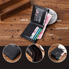 Vintage Leather Brand Luxury Men's Watch Male Purses Money Clip Credit Card Dollar Price Wallet Top Gifts Sets for Dad Boyfriend