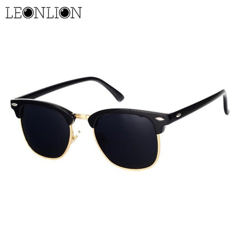 LeonLion  Polarized Semi-Rimless Sunglasses Women/Men Polarized UV400 Classic Brand Designer Retro Oculos De Sol Gafas