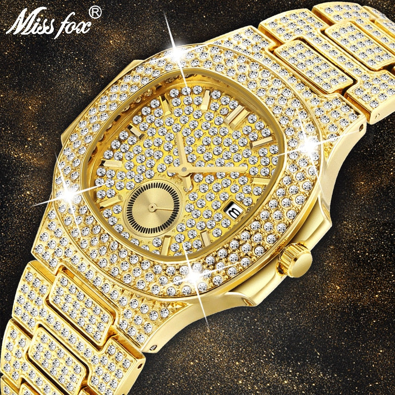 Mens Watches Top Brand Luxury MISSFOX NEW Trending 18K Gold Watch Men Chronograph Waterproof Big Hublo Steel Full Diamond Watch